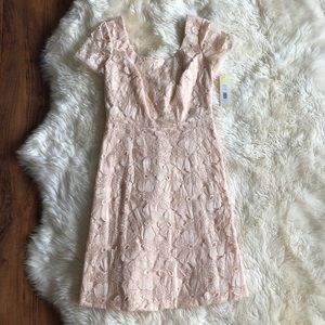 Mikael Aghal Floral Lace Dress In Champagne 6